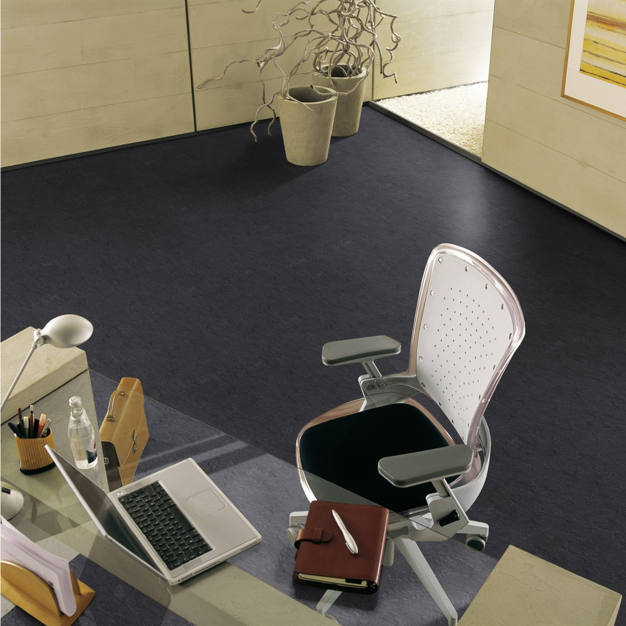 dalle pvc autocollante gerflor design slate anthracite bricoflor. Black Bedroom Furniture Sets. Home Design Ideas